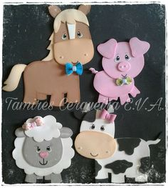 Madre Kids Crafts, Foam Crafts, Diy And Crafts, Paper Crafts, Farm Animal Party, Farm Party, Animal Cutouts, Little Blue Trucks, Animal Cupcakes