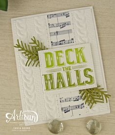 Sprigs of pine really spruce up this card! Created using Carols of Christmas stamp set, Sheet Music background stamp, Cable Knit embossing folder, and Pretty Pines framelits. All from Stampin' Up!