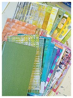 Gelli plate printing plus cut and paste So, if like me you've discovered and gone slightly crazy with gelli plate printing - now you're in the errrr gelliplate printing management phase. As in 'how on earth do i manage all this paper i've printed?' my suggestion is firstly divide it into 1)paper to cut up, 2)paper to print over the top of  3) keep it like it is.