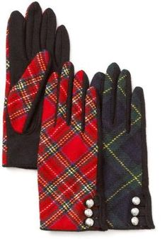 Lauren By Ralph Lauren Red Tartan Military Tech Gloves by Jo HiLL