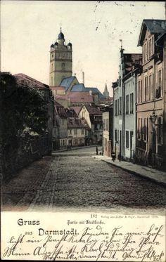 Ansichtskarte / Postkarte Darmstadt in Hessen, Partie mit der Stadtkriche, Häuser, St...   akpool.de