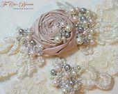 Wedding Garter SET- Vintage Romance Bridal Garter Set- Grey, Pink, Ivory. $49.00, via Etsy.