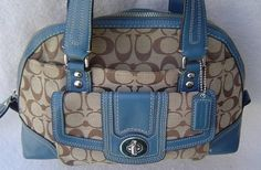 Preloved Coach Domed Signature Satchel. Starting at $30 on Tophatter.com! Coach Handbags, Leather Handle, Messenger Bag, Satchel, Turquoise, Green Turquoise, Crossbody Bag, Backpacking, Coach Purses