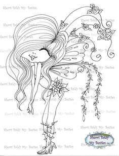Fairy Coloring Pages, Adult Coloring Book Pages, Coloring Books, Doll Drawing, Creation Art, Girly Tattoos, Digi Stamps, Drawing For Kids, Big Eyes