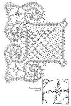 "Photo from album ""Брюггское кружево"" on Yandex. Filet Crochet, Crochet Shrug Pattern, Crochet Motif Patterns, Bobbin Lace Patterns, Crochet Chart, Crochet Basics, Crochet Squares, Irish Crochet, Lace Doilies"