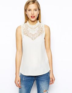 Oasis | Oasis Lace Trim Shell Top at ASOS