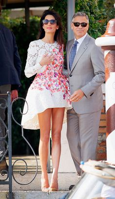 Amal Clooney wore Giambattista Valli to her post wedding brunch.