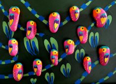 Welcome to the Jungle!   Hand-painted Pink Parrot Stone Magnets by Pandala Islands / Mesekavics