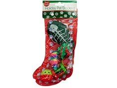 "This Christmas Cat Stocking makes the perfect gift for feline friends. Set includes a fish-shaped hanging toy with an elastic cord, a metallic crinkle ball, a rainbow mouse. A rainbow foam ball, a plastic wheel toy with bell and a plastic ball with bell in a transparent plastic stocking with a paw print border. Measures approximately 10"" x 5.25"""