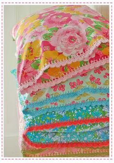 Vintage Fabric Crochet-trimmed Pillowcase