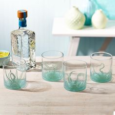 """So unique and perfectly themed for the beach-lover on your list. This set of four """"Octopus"""" ocean water double old fashioned glasses showcase stunning… Octopus Artwork, Octopus Design, Happy Everything, Two's Company, Old Fashioned Glass, Ceramic Tableware, 4 H, Spice Things Up, The Incredibles"""