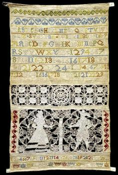 This is sampler was made by Susanna Wilkinson in England in 1699 (Fitzwilliam Museum - accession T.20-1938). If you think the front of the sampler is exquisite - click on the photo to see what the back looks like!