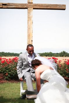 Foot Washing Ceremony At A Christ Centered Wedding