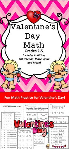 Fun Math Practice for Valentine's Day! Addition, Subtraction, Place Value, and MORE!