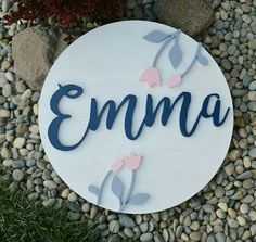 Wood Round Name Sign 30 Inch Floral Nursery Sign Personalized Cutout Handmade Decor Accent Baby Room Decor Decor Baby Shower Gift Photo Prop Cool Baby Girl Names, Log Home Interiors, Birch Ply, Floral Nursery, Carving Designs, Nursery Signs, Wood Rounds, Personalized Signs, Stain Colors