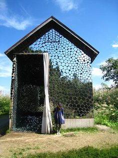 love this for shed/studio, but would be really afraid birds would just be flying into it, sigh Yokos house Sustainable Architecture, Interior Architecture, Pavilion Architecture, Residential Architecture, Contemporary Architecture, Garden Buildings, Garden Structures, Mirrors Unusual, Glamping