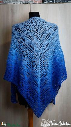 Kék puha, bolyhos horgolt kendő (Fonalfaloka) - Meska.hu Angkor, Crochet Top, Tops, Women, Fashion, Moda, Women's, La Mode, Shell Tops