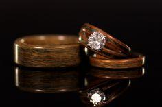 wood inlay engagement rings