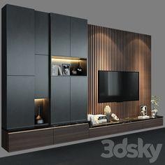 3d models: TV Wall - TV Wall set 138 Modern Tv Room, Modern Tv Wall Units, Living Room Modern, Home Living Room, Living Room Decor, Living Room Wall Units, Living Room Tv Unit Designs, Tv Wall Unit Designs, Home Room Design