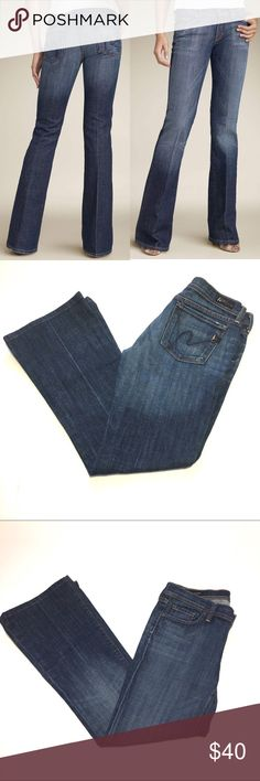 """Citizens of Humanity Ingrid #002 Low Flare. SZ 29. Citizens of Humanity Ingrid #002 Flare Jeans.  Italian stretch denim jeans are slim fit through the hips & thighs with a low rise & flared legs.  •Dark Wash •Style # 002-001 •5 pocket styling •Low Rise •Button & zip fly  •98% Cotton 2% Polyurethane •Size 29 •Approximate Measurements Flat Across:                 -Waist-14.75"""" -Hips-18"""" -Thighs-8.75"""" -Leg Opening-9.25"""" -Front Rise–7"""" -Back Rise–12.5"""" -Inseam-30"""" In great gently loved condition…"""