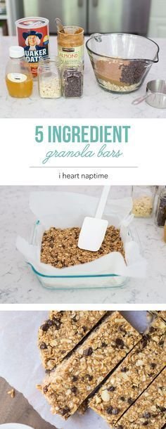 Favorite No Bake Homemade Granola Bars – made with only 5 ingredients! This is a… Favorite No Bake Homemade Granola Bars – made with only 5 ingredients! This is a super easy recipe that you can customize with your favorite ingredients. Granola Bar Recipe Easy, No Bake Granola Bars, Vegan Granola Bars, Granola Bar Recipes, Oat Bars, Oats And Honey Granola Bars Recipe, Almond Butter Granola Bar Recipe, Gronala Bars, Homemade Granola Recipe