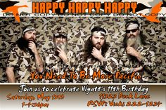 Duck Dynasty Birthday Invitation - Personalized For You