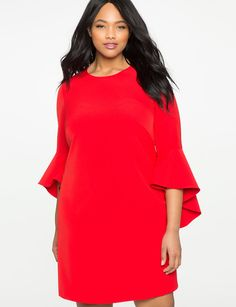 View our Flounce Sleeve Shift Dress and shop our selection of designer women's plus size Dresses, clothing and fashionable accessories. Big Size Dress, Plus Size Dresses, Plus Size Outfits, Women's Dresses, Hippie Dresses, Dresser, Cocoon Dress, Plus Size Girls, Kinds Of Clothes