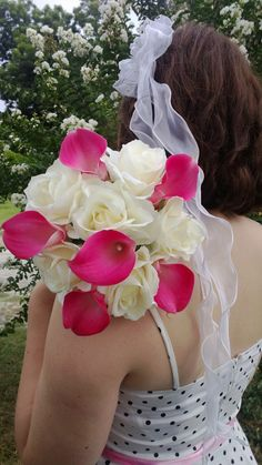 Hot Pink Calla Lily Ivory Rose Bouquet Pink by SilkFlowersByJean, $60.00