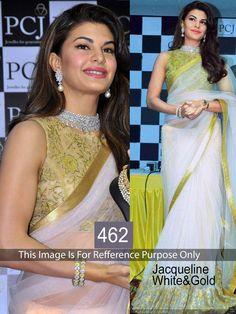 Jacqueline Fernandez Net Lace Work Cream Bollywood Style Saree - 462