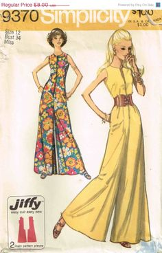 SALE Simplicity 9370 Vintage 1970s Jumpsuit Sewing Pattern Sleeveless Pantdress Jumpsuit  Size 12 Bust 34