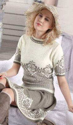 Пуловер с коротким рукавом и юбка