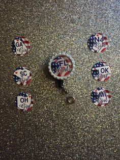 SALE State American Flag Inspired Retractable ID Badge Holder by AmeliaAshleys on Etsy https://www.etsy.com/listing/222418359/sale-state-american-flag-inspired