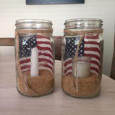 American flag mason jar candles