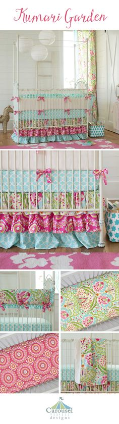 This bright and fun baby girl bedding collection is inspired by the colors of India. The mixture of colors and prints in shades of teals, aqua and fuchsia create a whimsical touch to a modern design.