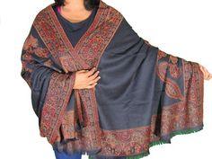 "Black Floral Warm Wool Shawl - Designer Jamawar Ladies Evening Wrap Afghan 80"""