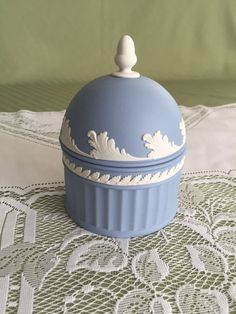 Wedgwood Jasperware Acorn Box Pale Blue by Past2Presentasis