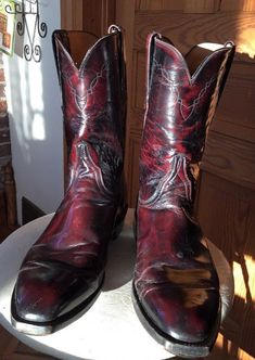 f3e9a00b20 LUCCHESE  674929 Mens Black Cherry Roper Style Western Cowboy Boots Size 10  1 2D