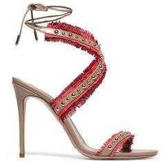 Open toe tassels ankle strap studded Heels
