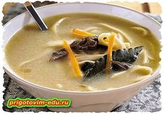 Суп с грибной лапшой ( вегетарианский )