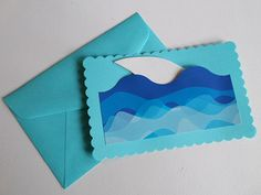 Shark birthday party ideas for invites: Make your own shark party invites using blue wave bulletin border and white foam paper for the shark fin.