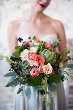 Full floral and foliage bridal bouquet | Bare Root Flora | Sarah Box Photography | Theknot.com