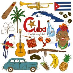 Collection of Cuban icons royalty-free stock vector art