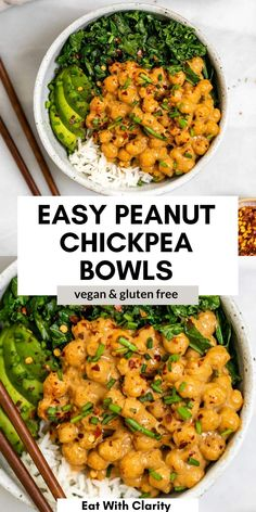 These vegan Thai peanut chickpea bowls are easy to make, gluten free and ready in 20 minutes! With a creamy thai peanut sauce, sauteed kale and fluffy white rice, these buddha bowls are healthy and perfect for meal prep. #chickpeas #buddhabowl Vegan Dinner Recipes, Chickpea Recipes, Vegetarian Recipes, Vegetable Recipes, Cooking Recipes, Healthy Recipes, Chickpea Meals, Cooking Jasmine Rice, Sauteed Kale