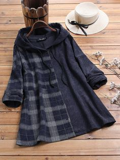 Gracila Corduroy Patch Plaid Print Long Sleeve Vintage Hoodies can show the feminine elegance well, get best women Hoodies & Sweatshirts online. Indian Fashion Dresses, Girls Fashion Clothes, Fashion Outfits, Clothes For Women, Stylish Dresses For Girls, Stylish Dress Designs, Cute Casual Outfits, Casual Dresses, Bluse Outfit