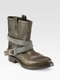Of course I like there's. there only 2 grand... Nbd  Brunello Cucinelli Leather Beaded Strap Motorcycle Boots  #brunellocucinelli