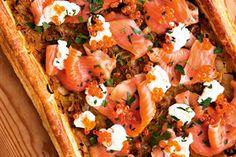 Luxury salmon and sweet onion tart – Recipes – Bite Onion Tart, Good Food, Yummy Food, Savory Tart, Cheat Meal, Tart Recipes, How Sweet Eats, Salmon, Easy Meals