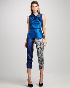 Juliette Mixed-Print Pants by Elie Tahari at Bergdorf Goodman.