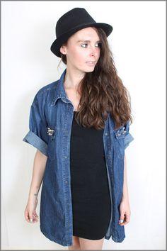 Vintage Studded 90s Grunge Oversized Denim Shirt Size 8/10/12    http://www.ebay.co.uk/itm/130735775187?ssPageName=STRK:MESELX:IT&_trksid=p3984.m1555.l2649    #fashion #vintage #style