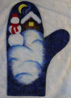 Приветствую всех посетителей моего блога! Хочу предложить несколько фотографий, которые я сделала в процессе создания рисунка шерстью на варежках 'Снеговик'. Это вторые варежки со Снеговичком. Когда уже готова основа, а она на мой взгляд должна быть светлая, чтобы шерсть не перемешивалась по цвету, я начинаю выкладывать шерстью рисунок. Шерсть также кладу в разных направлениях, и где нужны ровные…