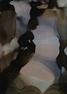 "Light my Way No 2, alcohol inks and Everclear® on Claybord, 2.5""x3.5"", © 2012 Andrea Pramuk Art Studio"